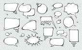 Comic Speech Bubbles. Set Of Speech Bubbles. Empty Dialog Clouds. Illustration For Comics Book, Soci poster