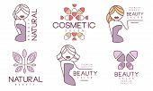 Cosmetic Salon Premium Quality Labels Set, Natural Beauty, Organic Cosmetics Badges Vector Illustrat poster