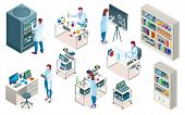 Set Of Isolated Laboratory With Scientist, Isometric Chemical Or Biological Lab, Medical Or Clinic P poster