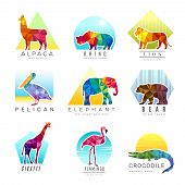 Animals Logo. Zoo Low Poly Triangular Geometric Symbols Fo Different Animals Origami Colored Busines poster