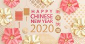 Happy Chinese New Year 2020, Elegant Greeting Card Illustration With Traditional Asian Elements, Flo poster