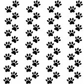 Backdrop With Silhouettes Of Cat Or Dog Footprint. Vector Illustration Animal Paw Track Pattern. Paw poster