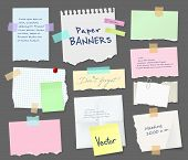 Paper Sheets Of Notebook And Note Pad With Torn Edges Stick On Grey Background With Tape And Papercl poster