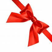 Shiny Red Silk Ribbon With Bow Isolated On White Background. Christmas Decoration With Copy Space poster