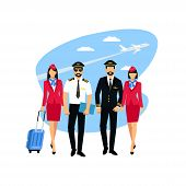 Flight Attendant And A Pilot- Vector Illustration. Stewardess  And  Pilot Isolated On A Background.  poster