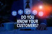 Text Sign Showing Do You Know Your Customers Question. Conceptual Photo Asking To Identify A Custome poster