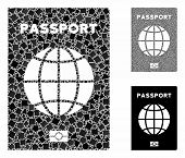 World Passport Mosaic Of Irregular Pieces In Variable Sizes And Shades, Based On World Passport Icon poster