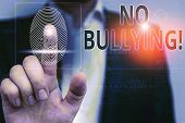Handwriting Text No Bullying. Concept Meaning Stop Aggressive Behavior Among Children Power Imbalanc poster