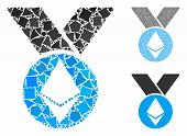 Ethereum Medal With Ribbons Mosaic Of Inequal Parts In Different Sizes And Color Tones, Based On Eth poster