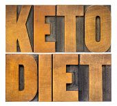 keto diet concept - isolated word abstract in vintage letterpress wood type, healthy ketogenic diet  poster