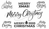 Merry Christmas Lettering Set. Christmas Text Labels Typographic Design poster