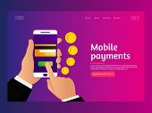 Concept Mobile Payments. Money Transaction, Business, Mobile Banking And Mobile Payment. Vector Illu poster