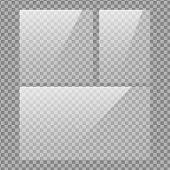 Square, Vertical And 16x9 Panel. Glass Plate Set On Transparent Background. Clear Glass Showcase. Re poster