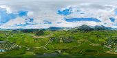 360 Panorama By 180 Degrees Angle Seamless Panorama View Of Fansipan Mountain With Paddy Rice Terrac poster