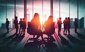 Double Exposure Image Of Many Business People. poster
