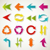 image of arrow  - Set of abstract colorful arrow icon. Vector 
