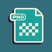 Green Png File Document. Download Png Button Icon Isolated On Blue Background. Png File Symbol. Long poster