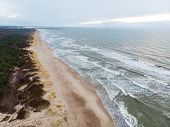 Aerial View Of The Baltic Sea Shore Line Near Klaipeda City, Lithuania. Beautiful Sea Coast On Chill poster