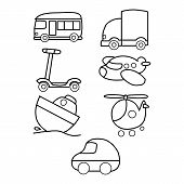 Transport Silhouette. Airplanes Ship Car Train Vehicle Logistic Icons Vector Transporting Symbols. S poster