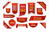 Christmas Sale Tags Collection. Red Scrolls And Banners Isolated. Merry Christmas And Happy New Year poster