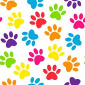 Backdrop With Silhouettes Of Cat Or Dog Footprint. Paw Print Multicolored Seamless. Vector Illustrat poster