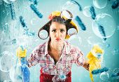 Funny Housewife Cleans And Disinfects To Keep Germs Away poster
