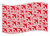 Waving Red Flag Collage. Vector Jet Plane Design Elements Are Combined Into Mosaic Red Waving Flag C poster