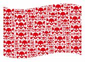 Waving Red Flag Collage. Vector Skull Crossbones Design Elements Are Placed Into Geometric Red Wavin poster