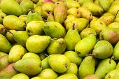 Fresh Pears Food Closeup. Healthy Food. Vegetarian Food. Nutritious Food. Green Pears On Food Market poster