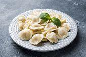 Dumplings Stuffed With Meat, Ravioli, Dumplings. Dumplings With Stuffing. Russian Cuisine. poster