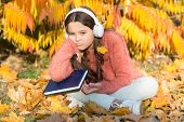 Self Education Concept. Child Enjoy Reading. Visual And Audio Information. Schoolgirl Study. Study E poster
