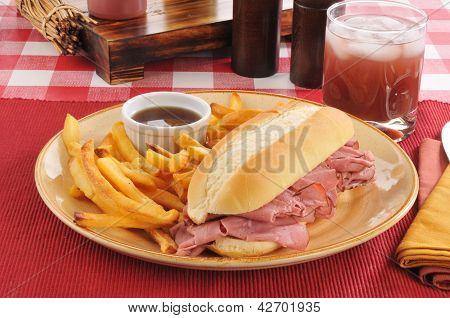 Roast Beef Sandwich And Fries