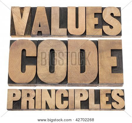 values, code, principles words - a collage of isolated text in vintage letterpress wood type printing blocks