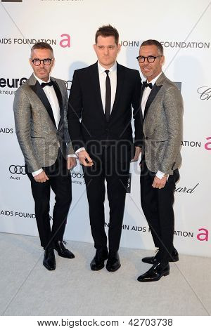 LOS ANGELES - FEB 24:  D Squared, Michael Buble arrive at the Elton John Aids Foundation 21st Academy Awards Viewing Party at the West Hollywood Park on February 24, 2013 in West Hollywood, CA