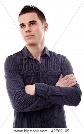 Thoughtful Young Man In Closeup