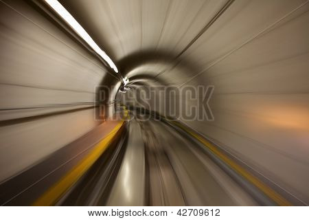 Going trough the underground tunnel