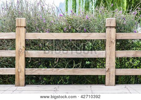 Wooden Guardrail At The Outside