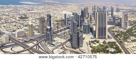 DUBAI, UAE. - OCTOBER 29 : Dubai, the top view on Dubai downtown from the tallest building in the world, Burj Khalifa on OCTOBER 29, 2012 in Dubai, UAE. Day View