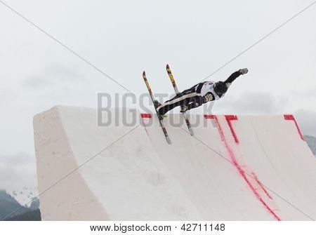 BUKOVEL, UKRAINE - FEBRUARY 23: Dylan Ferguson, USA performs aerial skiing during Freestyle Ski World Cup in Bukovel, Ukraine on February 23, 2013.