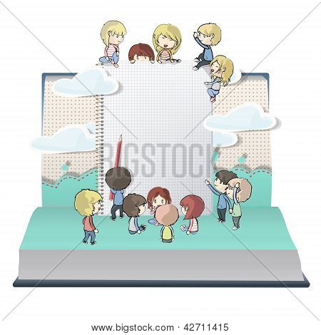 Notebook With Several Children Printed On Open Book. Vector Design.