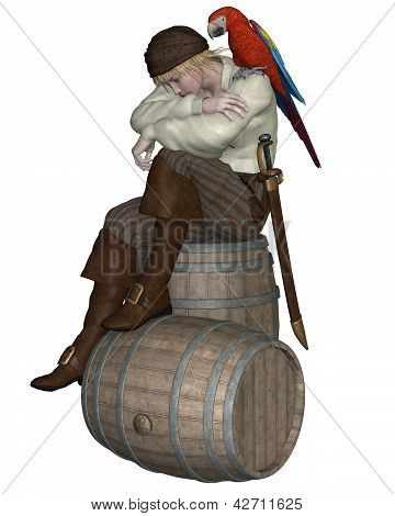 Young Pirate Sitting on a Barrel