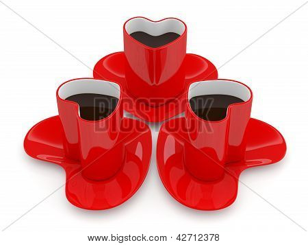 Coffee Cup In Form Of Heart. 3D Render