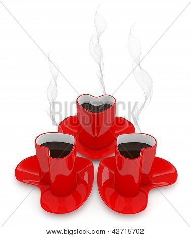Coffee Cup With Smoke In Form Of Heart. 3D Render