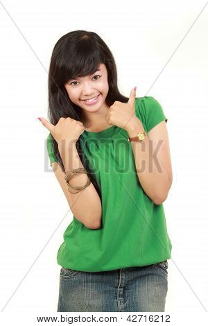 Young Girl Showing Two Thumbs Up
