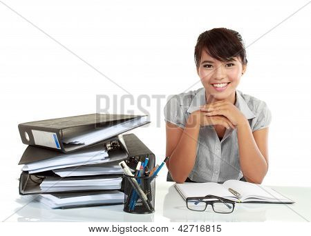 Young Smiling Business Woman Working On Her Paperwork