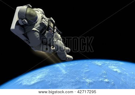"Astronaut in outer space in the chair.""Elements of this image furnished by NASA"""