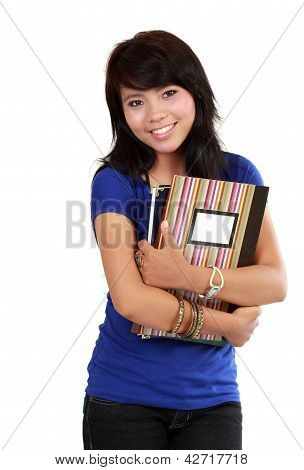 Asian Woman With Books