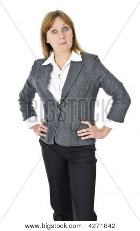 Businesswoman On White Background