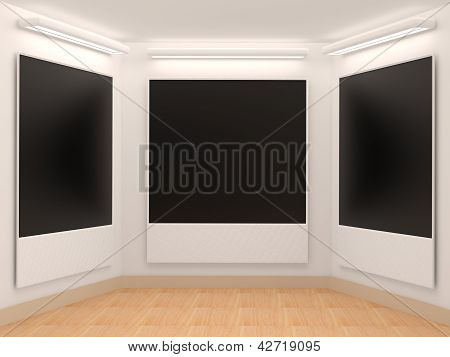 Photo Frame On The Wall With Lighting For Advertising