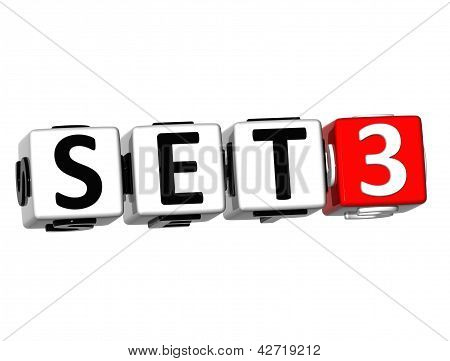 3D Set Button Click Here Block Text